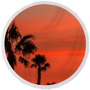 Silhouetted Palm Trees Round Beach Towel