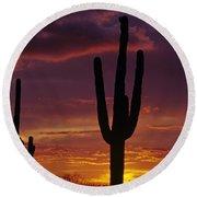 Silhouetted Saguaro Cactus Sunset  Arizona State Usa Round Beach Towel