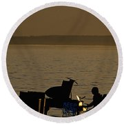 Silhouetted Sea Monster Playing Piano.tif Round Beach Towel