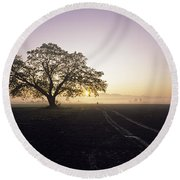 Silhouetted Tree In Field Sunrise Round Beach Towel