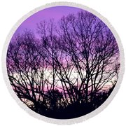 Silhouettes Against Pink Skies Round Beach Towel