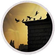 Silhouettes Of The Cormorants Round Beach Towel