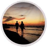 Silhouettes On Varadero Beach Round Beach Towel