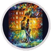 Silhouettes - Palette Knife Oil Painting On Canvas By Leonid Afremov Round Beach Towel