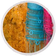 Silk Fabric 05 Round Beach Towel