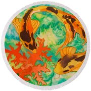Silk Koi Round Beach Towel