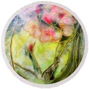 Silky Almond Flower Round Beach Towel