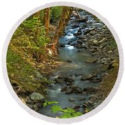 Silky Stream In Rain Forest Landscape Art Prints Round Beach Towel