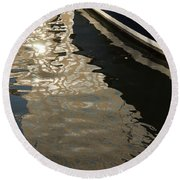 Silky Swirls And Zigzags - A Waterfront Abstract Round Beach Towel