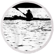 Sillouette Of Man Kayaking On Lake Round Beach Towel