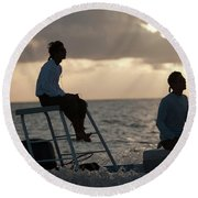 Sillouetted Man Steers Flats Boat Round Beach Towel