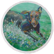 Silly Goose Round Beach Towel by Kimberly Santini