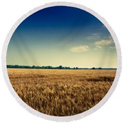 Silo In Wheat Round Beach Towel