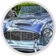 Silver 1963 Austin Healey Roadster 3000 Round Beach Towel