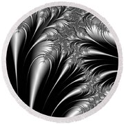 Silver And Black Abstract Round Beach Towel