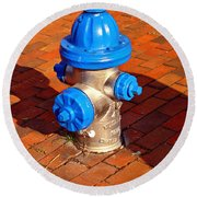 Silver And Blue Hydrant Round Beach Towel