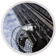 Silver And Blue Planet Earth Round Beach Towel