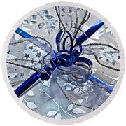 Silver And Blue Wrapped Gift Art Prints Round Beach Towel