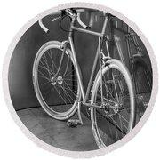 Silver Bike Bw Round Beach Towel