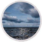 Silver Blue Moon Round Beach Towel