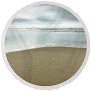 Silver Blue Sea Round Beach Towel
