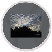 Silver Clouds Round Beach Towel