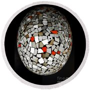 Silver Egg Round Beach Towel by Eleni Mac Synodinos