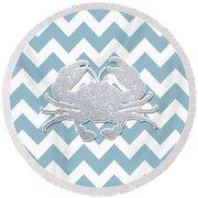 Silver Glitter Crab Silhouette - Chevron Pattern Round Beach Towel