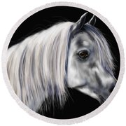 Grey Arabian Mare Painting Round Beach Towel