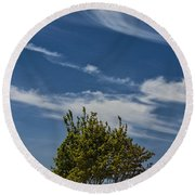 Silver Lake Dune With Tree Grove And Cirrus Clouds Round Beach Towel