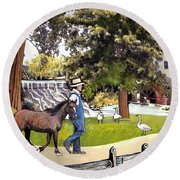 Silver Lake Mill-shenandoah Valley Round Beach Towel