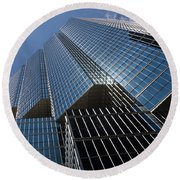 Silver Lines To The Sky - Downtown Toronto Skyscraper Round Beach Towel