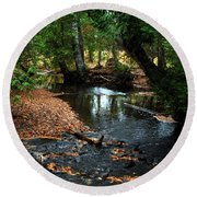 Silver River Channel In Autumn Round Beach Towel