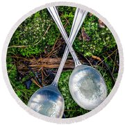 Silver Spoons  Round Beach Towel