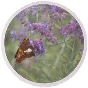 Silver Spotted Skipper Round Beach Towel