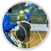 Silver Spurs Rodeo Outrider Round Beach Towel
