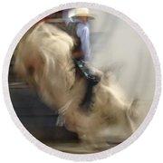 Silver State Stampede 2014 Bull Rider Round Beach Towel