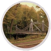 Silver Suspension Bridge Round Beach Towel