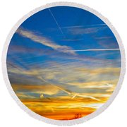 Silver Wing Sunset Round Beach Towel