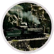 Silverton Steam Locomotive  Round Beach Towel