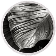 Silvertone Leaf Round Beach Towel