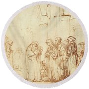 Simeon And Jesus In The Temple Round Beach Towel