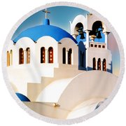 Simple Graphic Greek Church Round Beach Towel