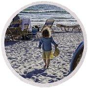 Simpler Times 2 - Miami Beach - Florida Round Beach Towel by Madeline Ellis
