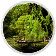 Simpler Times - Central Park - Nyc Round Beach Towel