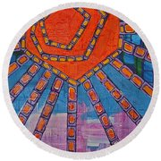 Simply A Sunset I've Never Seen Round Beach Towel