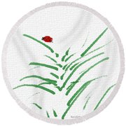 Simply Ladybugs And Grass Round Beach Towel