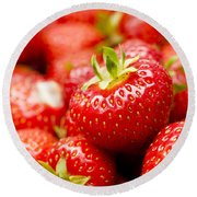 Simply Strawberries Round Beach Towel