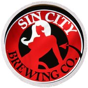 Sin City Brewing  Round Beach Towel