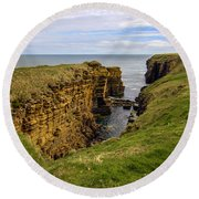 Sinclair Castle Scotland -1 Round Beach Towel